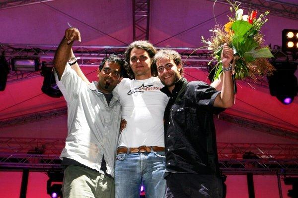 The podium (L to R): PJ Rashidi (USA) Alpine Stars F1 Co-Ordinator, second; Heupel Maik, winner; Brendon Thorne (AUS) Sutton Motorsport Images, third. Red Bull Hockenheim Petit Prix, Mannheim, Germany, 23 July 2005. DIGITAL IMAGE