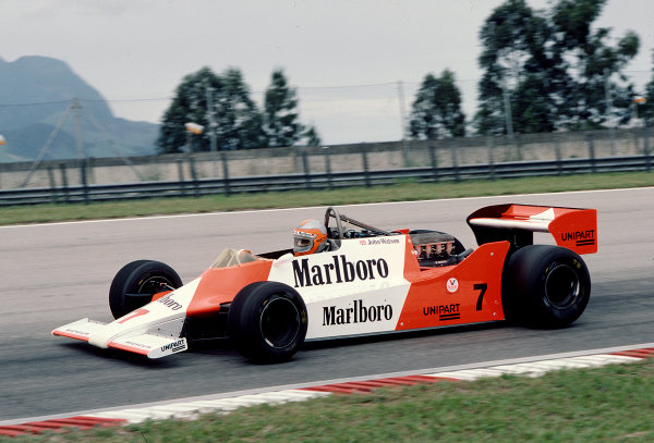 1981 Brazilian Grand Prix.Jacarepagua, Rio de Janeiro, Brazil.27-29 March 1981.John Watson (McLaren M29F Ford) 8th position.Ref-81 BRA 26.World Copyright - LAT Photographic