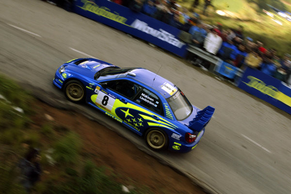 2003 FIA World Rally Champs. Round 13 Catalunya Rally 23rd-26th October 2003.Tommi Makinen, Subaru, action. World Copyright: McKlein/LAT