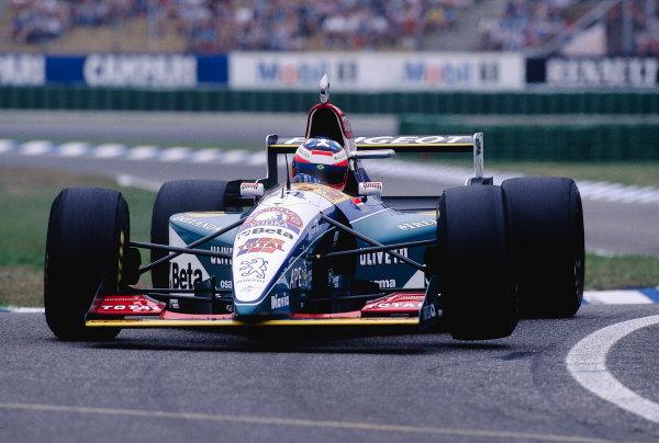 1995 German Grand Prix.Hockenheim, Germany. 28-30 July 1995.Rubens Barrichello (Jordan 195 Peugeot).Ref-95 GER 40.World Copyright - Martyn Elford/LAT Photographic