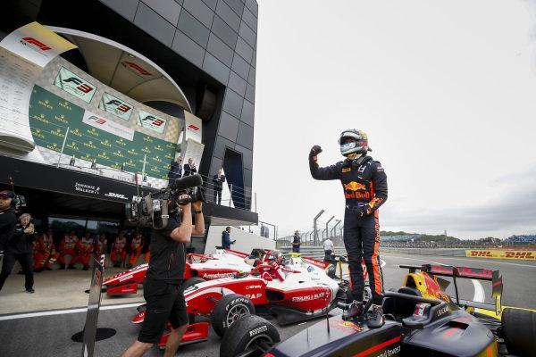 Race winner Juri Vips (EST) Hitech Grand Prix celebrates in Parc Ferme