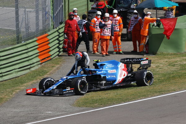 Esteban Ocon, Alpine A521, gets out of his car after stopping