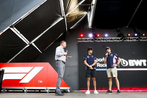 Lance Stroll, Racing Point and Sergio Perez, Racing Point on stage in the fan zone