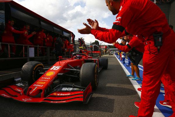Winner Charles Leclerc, Ferrari, is congratulated by his team