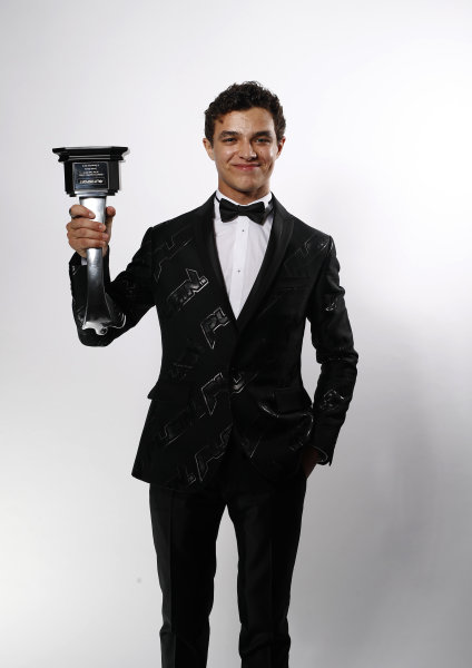 Lando Norris, McLaren, with his British Competition Driver of the Year award