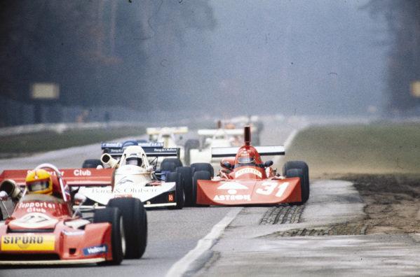 Claude Bourgoignie, March 752 BMW, battles with Diulio Truffo, Osella FA2 BMW.