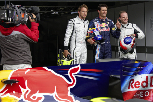Top 3 fastest in qualifying: Jenson Button, 2nd position, pole sitter Mark Webber, and Rubens Barrichello, 3rd position.