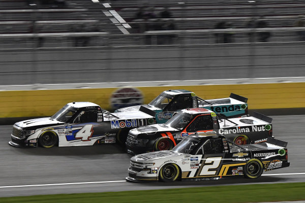 #4: Raphael Lessard, Kyle Busch Motorsports, Toyota Tundra Mobil 1, #13: Johnny Sauter, ThorSport Racing, Ford F-150 Tenda, #99: Ben Rhodes, ThorSport Racing, Ford F-150, #2: Sheldon Creed, GMS Racing, Chevrolet Silverado Chevy.com /Trench Shoring