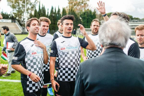 Pascal Wehrlein (DEU), Mahindra Racing, Antonio Felix da Costa (PRT), BMW I Andretti Motorsports at the Formula E charity football match