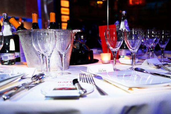 2015 Autosport Awards. Grosvenor House Hotel, Park Lane, London. Sunday 6 December 2015. Nick Tandy's table. World Copyright: Adam Warner/LAT Photographic. ref: Digital Image _L5R8903