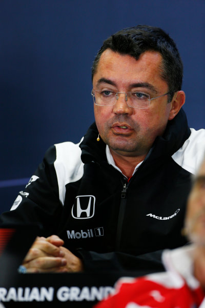 Albert Park, Melbourne, Australia. Friday 18 March 2016. Eric Boullier, Racing Director, McLaren, in the Team Principals Press Conference. World Copyright: Andrew Hone/LAT Photographic ref: Digital Image _ONZ2114