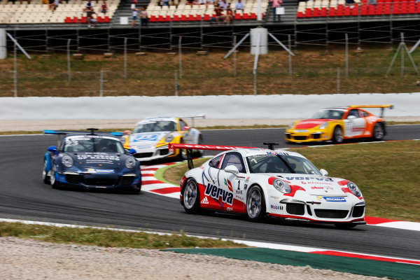 Circuit de Catalunya, Barcelona, Spain. Sunday 10 May 2015. Kuba Giermaziak, No.1 VERVA Lechner Racing Team, leads Alex Riberas, No.23 The Heart of Racing by Lechner, Christian Engelhart, No.14 MRS GT-Racing, and Philipp Eng, No.17 Market Leader by Project 1. World Copyright: Steven Tee/LAT Photographic. ref: Digital Image _L4R9664