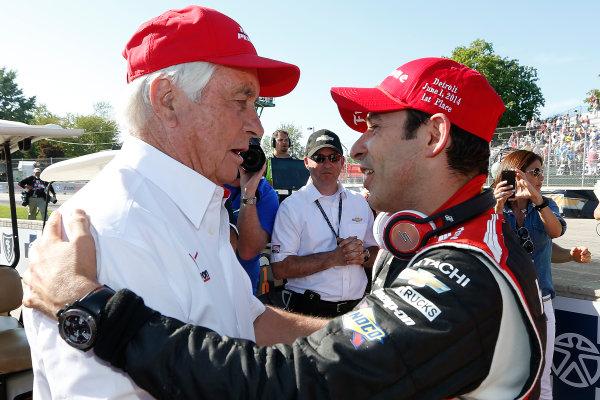 1 June, 2014, Detroit, Michigan, USA Winner Helio Castroneves is congratulated by  Roger Penske ©2014, Michael L. Levitt LAT Photo USA
