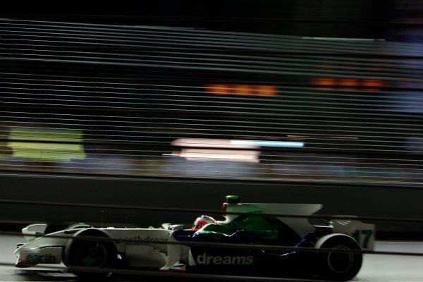 2008 Singaopore GP - Friday PracticeMarina Bay Circuit, Singapore, Singapore.26th September 2008.Rubens Barrichello, Honda RA108. Action. World Copyright: Glenn Dunbar/LAT Photographicref: Digital Image _O9T0491