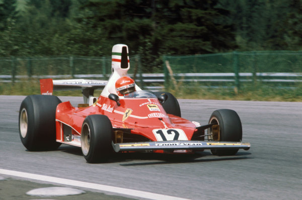 1975 Austrian Grand Prix  Osterreichring, Austria. 15-17 August 1975.  Niki Lauda, Ferrari 312T.  CAUTION: SCAN HAS BASIC RETOUCHING ONLY. FULL RETOUCHED VERSION AVAILABLE ON REQUEST.  Ref: 75AUT02x. World copyright: LAT Photographic