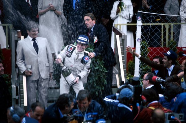 (L to R): Patrick Depailler (FRA) Tyrrell celebrates his first GP win on the podium.Monaco Grand Prix, Rd 5, Monte-Carlo, Monaco, 7 May 1978.BEST IMAGE