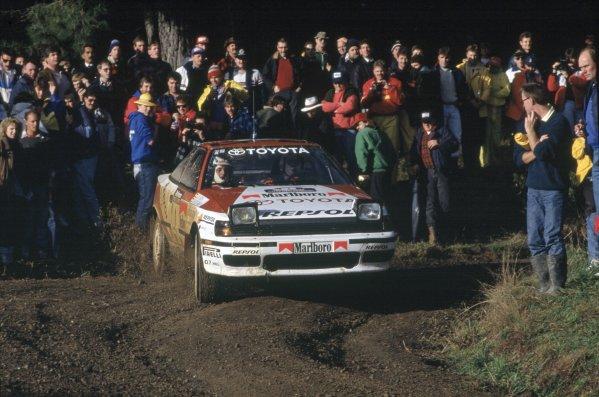 1991 World Rally Championship.New Zealand Rally, New Zealand. 26-30 June 1991.Carlos Sainz/Luis Moya (Toyota Celica GT4), 1st position.World Copyright: LAT PhotographicRef: 35mm transparency 91RALLY07
