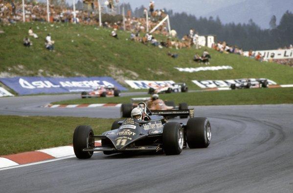 1981 Austrian Grand Prix.Osterreichring, Austria. 14-16 August 1981.Elio de Angelis (Lotus 87-Ford Cosworth), 7th position.World Copyright: LAT PhotographicRef: 35mm transparency 81AUT07