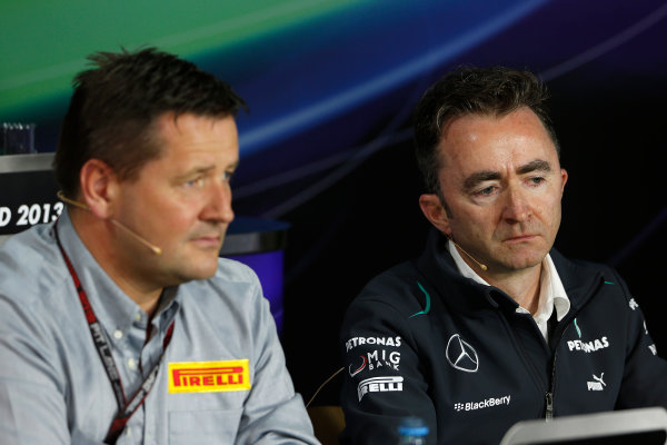 Nurburgring, Germany 5th July 2013 Paul Hembery, Director, Pirelli, and Paddy Lowe, Executive Director (Technical), Mercedes AMG, in the Friday Press Conference World Copyright: Charles Coates/  ref: Digital Image _N7T9086