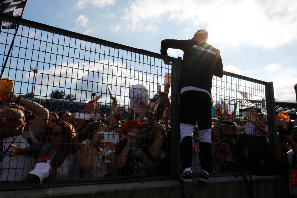 Hungaroring, Budapest, Hungary.  Thursday 27 July 2017. Lewis Hamilton, Mercedes AMG, signs autographs for fans. World Copyright: Steven Tee/LAT Images  ref: Digital Image _O3I5010