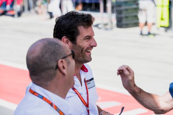 2017 FIA Formula 2 Round 5. Red Bull Ring, Spielberg, Austria. Sunday 9 July 2017. Mark Webber with Bruno Michel. Photo: Zak Mauger/FIA Formula 2. ref: Digital Image _54I0263