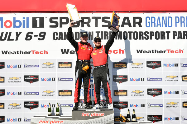 IMSA Continental Tire SportsCar Challenge Mobil 1 SportsCar Grand Prix Canadian Tire Motorsport Park Bowmanville, ON CAN Saturday 8 July 2017 57, Chevrolet, Chevrolet Camaro GT4.R, GS, Matt Bell, Robin Liddell, winners, podium, victory lane World Copyright: Scott R LePage/LAT Images