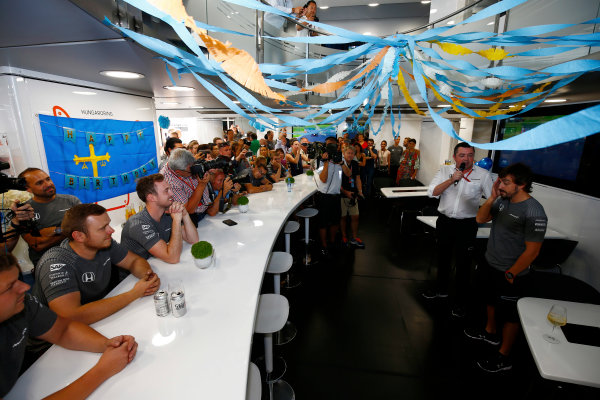Hungaroring, Budapest, Hungary.  Saturday 29 July 2017. Fernando Alonso, McLaren, celebrates his birthday. World Copyright: Andy Hone/LAT Images  ref: Digital Image _ONZ9862