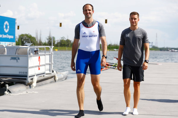 Circuit Gilles Villeneuve, Montreal, Canada. Thursday 8 June 2017. Performance engineer Tom Stallard, and Stoffel Vandoorne, McLaren, prepare to go rowing. World Copyright: Steven Tee/LAT Images ref: Digital Image _O3I7181