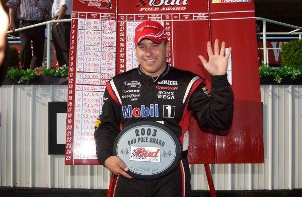 2003 NASCAR,Pocono Raceway,Pennsylvania 500,USA July27-Ryan Newman holding five fingers for five wins,-Robert LeSieur 2003LAT Photographic