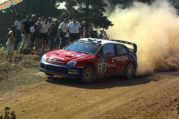 Carlos Sainz in action, Citroen Xsara WRC, Acropolis Rally 2003.Photo: McKlein/LAT