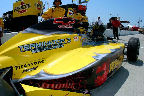 "2003 IRL IndyCar Kansas City, 4-6 July 2003Kansas Speedway, Kansas City, KS USASam Hornish Jr.'s car has a special ""Terminator 3"" livery this weekend-2003 Lesley Ann Miller, USALAT Photographic"