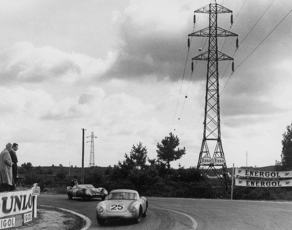 Le Mans, France. 28th - 29th July 1956.Richard von Frankenberg/Wolfgang von Trips (Porsche 550A RS Coupe), 5th position, leads Tommy Wisdom/Jack Fairman (Bristol 450C), 9th position, action. World Copyright: LAT Photographic.Ref: Autocar Glass Plate C47626.