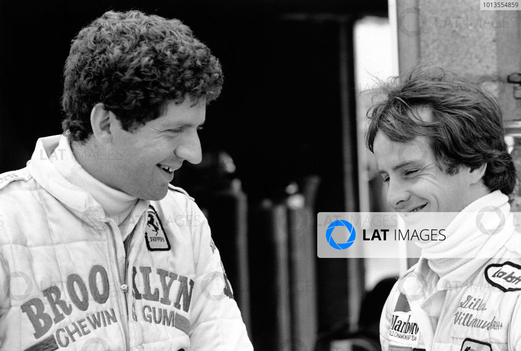 Silverstone, England. 12-14 July 1979. Jody Scheckter with team mate Ferrari Gilles Villeneuve, portrait. World Copyright - LAT Photographic. ref: 12725/27.