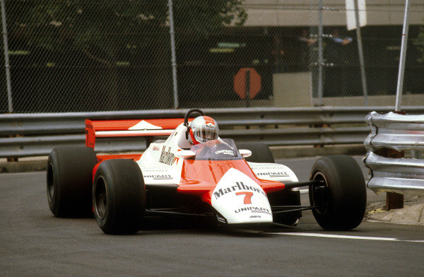 Detroit, Michigan, USA.4-6 June 1982.John Watson (McLaren MP4B Ford) 1st position.Ref-82 USA 06.World Copyright - LAT Photographic
