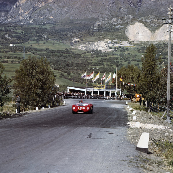 1961 Targa Florio. Little Madonie Circuit, Sicily, Italy. 30th April 1961. Umberto Maglioli/Giorgio Scarlatti (Maserati Tipo 63), 5th position. World Copyright: LAT Photographic. Ref: 235.