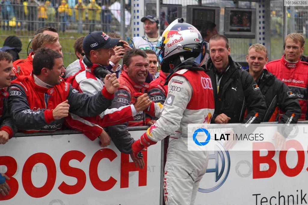 Race winner Mattias Ekstrom (SWE), Audi Sport Team Abt Sportsline, Red Bull Audi A4 DTM (2009) celebrates with his team.DTM, Rd8, Oschersleben, Germany, 16-18 September 2011 Ref: Digital Image dne1118se546