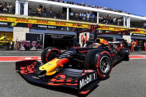 Max Verstappen, Red Bull Racing RB15, leaves the garage