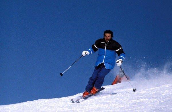Kitzbuhel, Austria. 1983. Riccardo Patrese on the ski slopes