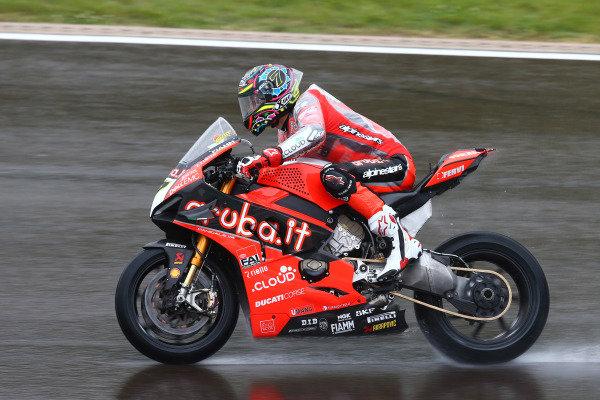 Chaz Davies, Aruba.it Racing-Ducati Team on wett assessment laps.