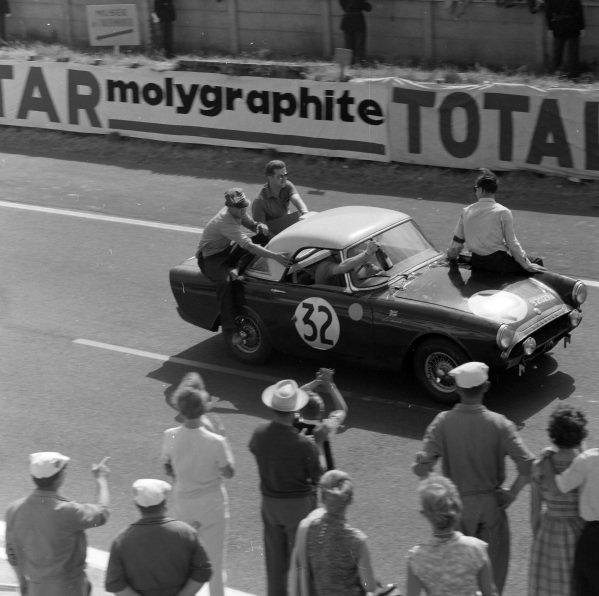Peter Harper / Peter Procter, Sunbeam Talbot, Sunbeam Alpine, after the race.