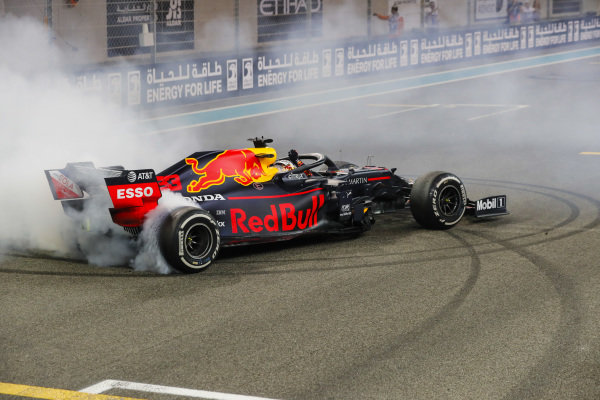 Max Verstappen, Red Bull Racing RB15, 2nd position, performs a donut on the grid in celebration, at the end of the race