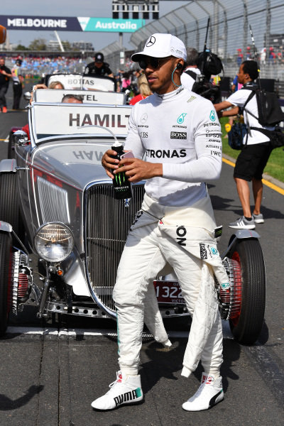 Lewis Hamilton (GBR) Mercedes AMG F1 on the drivers parade at Formula One World Championship, Rd1, Australian Grand Prix, Race, Albert Park, Melbourne, Australia, Sunday 26 March 2017.