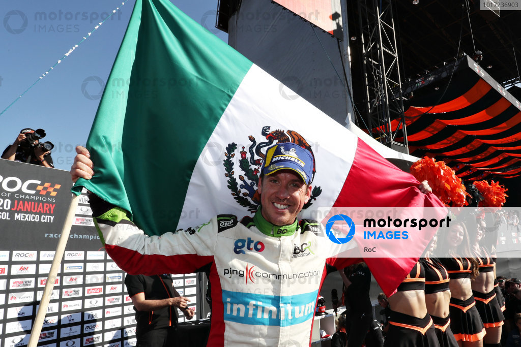 Winner Benito Guerra (MEX) celebrates on the podium during the Race of Champions on Sunday 20 January 2019 at Foro Sol, Mexico City, Mexico