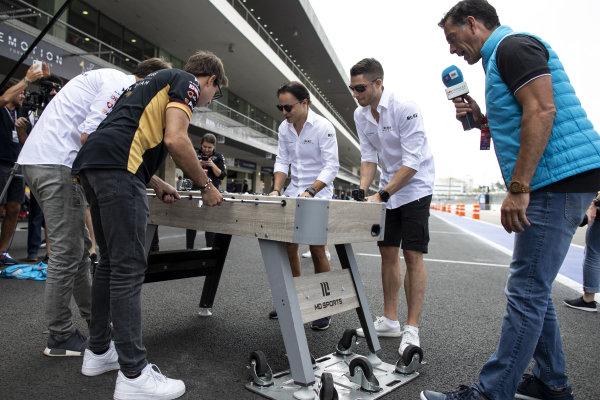 Jean-Eric Vergne (FRA), DS Techeetah and Antonio Felix da Costa (PRT), DS Techeetah play table football against Felipe Massa (BRA), Venturi and Edoardo Mortara (CHE) Venturi
