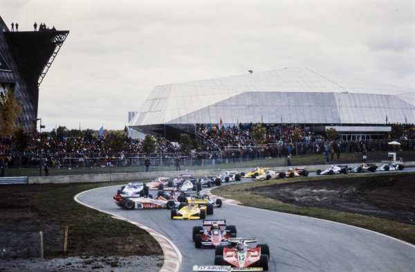 Gilles Villeneuve, Ferrari 312T3 leads John Watson, Brabham BT46 Alfa Romeo as Hans-Joachim Stuck, Shadow DN9 Ford spins.
