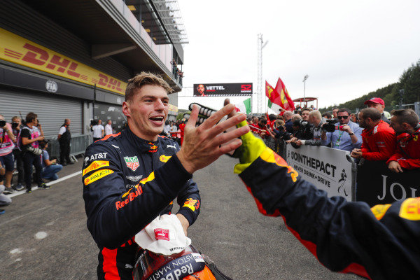 Max Verstappen, Red Bull Racing, celebrates third place in parc ferme.