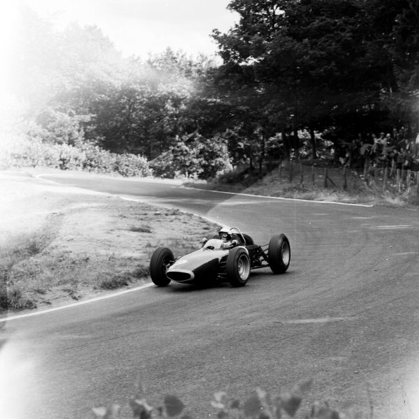 1963 German Grand Prix.  Nurburgring, Germany. 2-4 August 1963.  Richie Ginther (BRM P57) 3rd position, at Adenauer-Forst.  Ref-20660. World Copyright - LAT Photographic
