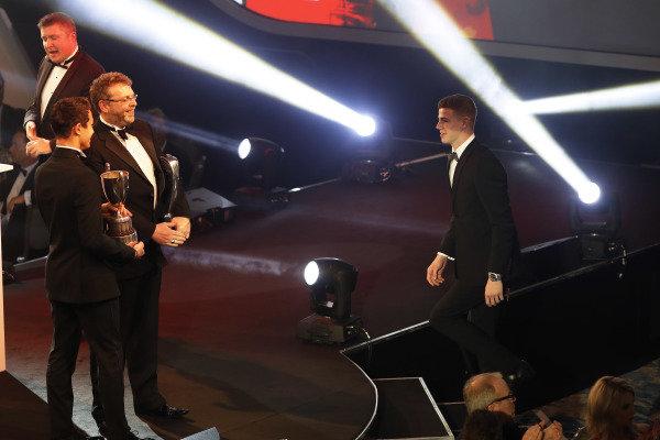 McLaren Autosport BRDC Award winner Tom Gamble on stage with Lando Norris
