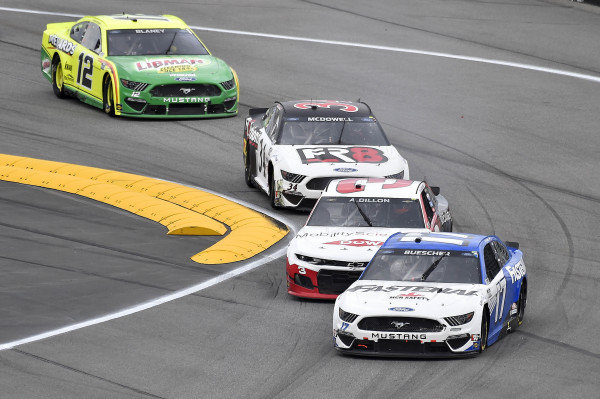 #17: Chris Buescher, Roush Fenway Racing, Ford Mustang, #3: Austin Dillon, Richard Childress Racing, Chevrolet Camaro, #34: Michael McDowell, Front Row Motorsports, Ford Mustang Love's Travel Stops, and #12: Ryan Blaney, Team Penske, Ford Mustang Menards/Libman