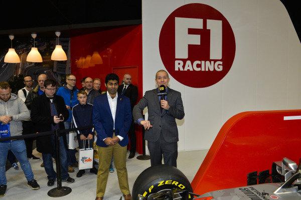 Karun Chandhok and Stuart Codling at the F1 Racing Stand.